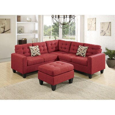Moores Sectional with Ottoman Upholstery: Red