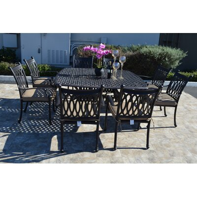 Grand Tuscany 9 Piece Dining Set with Cushions