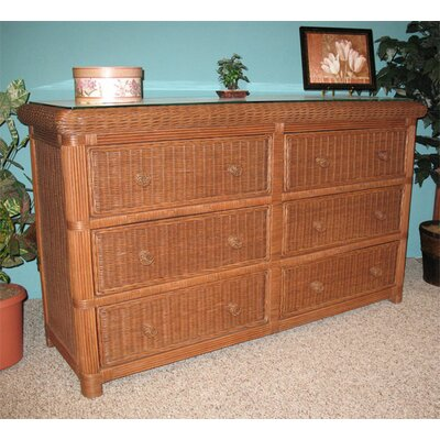 Pavilion 6 Drawer Dresser Finish: Tewash Brown