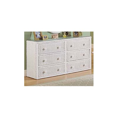 6 Drawer Double Dresser Color: White