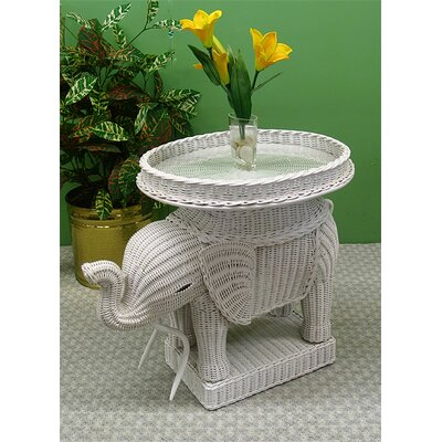 Elephant End Table Color: White