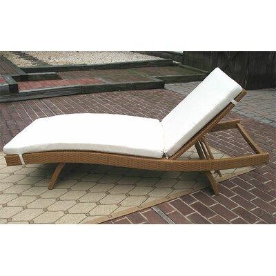 Siesta Chaise Lounge with Cushion Finish: Golden Honey, Fabric: Natural