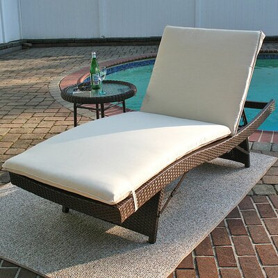 Siesta Chaise Lounge with Cushion Finish: Antique Brown, Fabric: Natural