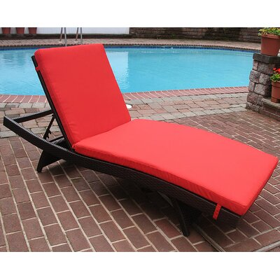 Siesta Chaise Lounge with Cushion Finish: Black, Fabric: Red