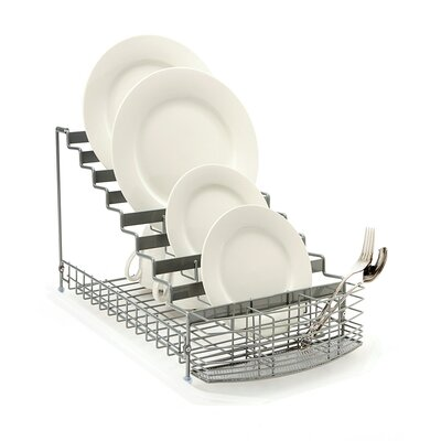 Large Multilevel Organizer Dish Rack Color: Grey