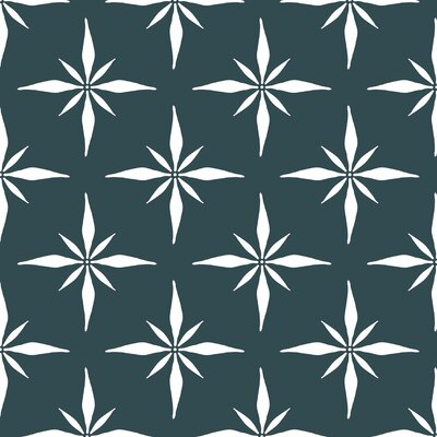 Nautical Compass Fabric Color: Teal