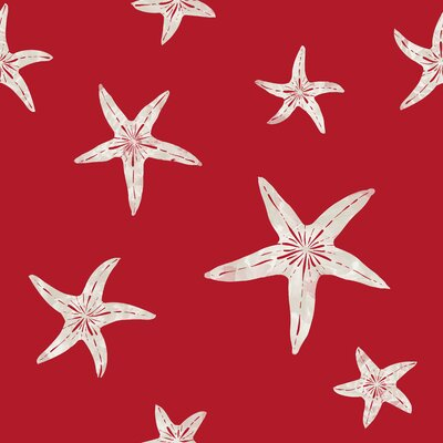 Starfish Fabric by the Yard Color: Red / Sand