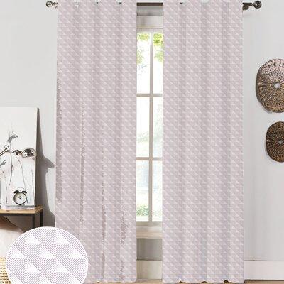 NECR Custom Print Origami Curtain Panel (Set of 2) - Color: Lilac, Size: 63
