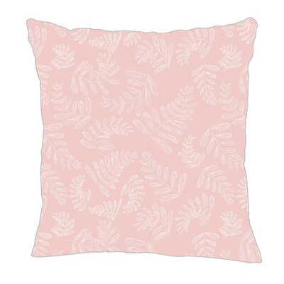 Fern Throw Pillow Size: 16 H x 16 W x 5 D, Color: Pink/White