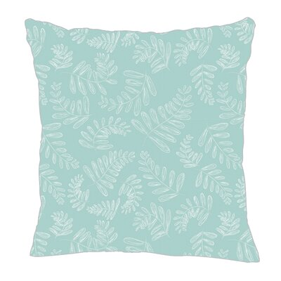 Fern Throw Pillow Size: 16 H x 16 W x 5 D, Color: Light Blue/White