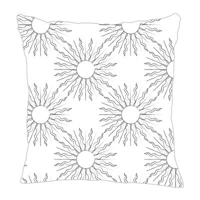 Sun Throw Pillow Size: 16 H x 16 W x 5 D, Color: Black