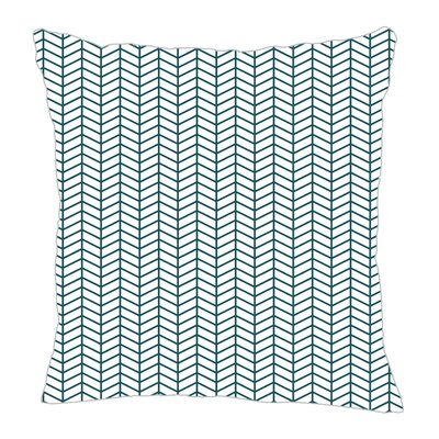 Herringbone Throw Pillow Color: Teal/White, Size: 16 H x 16 W x 5 D