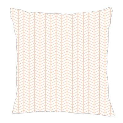Herringbone Throw Pillow Size: 18 H x 18 W x 5 D, Color: Peach/White