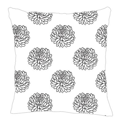 Peony Throw Pillow Color: Black, Size: 20 H x 20 W x 5 D