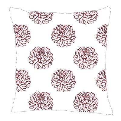 Peony Throw Pillow Size: 18 H x 18 W x 5 D, Color: Maroon