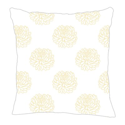 Peony Throw Pillow Size: 16 H x 16 W x 5 D, Color: Yellow