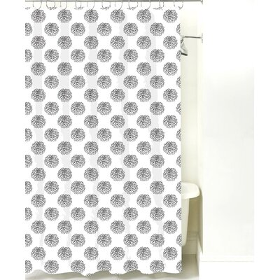 Peony Cotton Shower Curtain Color: Black