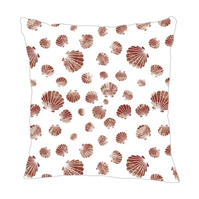 Seashell Throw Pillow Size: 18 H x 18 W x 5 D, Color: Maroon/White