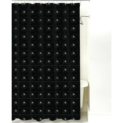 Star Burst Cotton Shower Curtain Color: Black