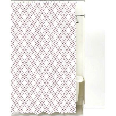 Argyle Cotton Shower Curtain Color: Maroon Line