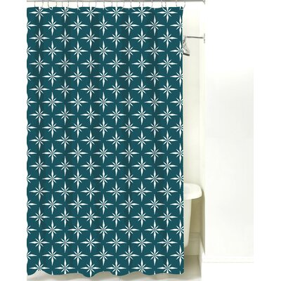 Nautical Compass Cotton Shower Curtain Color: Teal