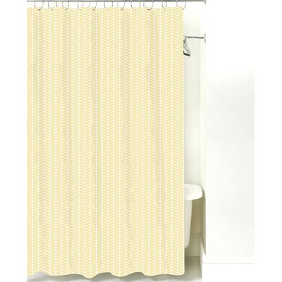 Herringbone Cotton Shower Curtain Color: Pale Yellow