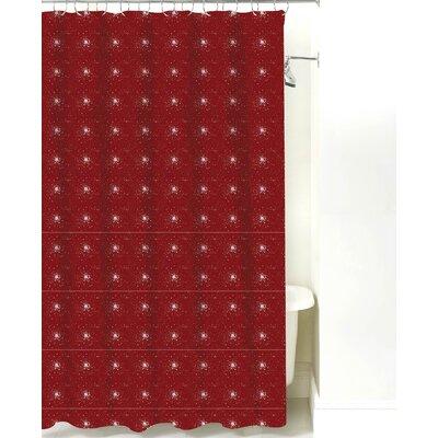 Star Burst Cotton Shower Curtain Color: Maroon