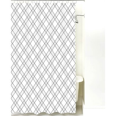 Argyle Cotton Shower Curtain Color: Black