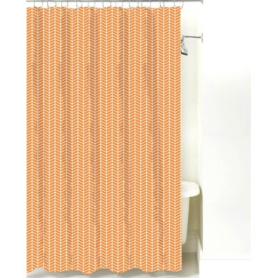 Herringbone Cotton Shower Curtain Color: Mango