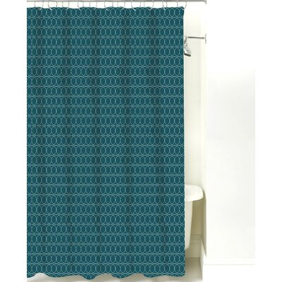 Spiral Graph Cotton Shower Curtain Color: Teal
