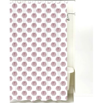 Peony Cotton Shower Curtain Color: Maroon