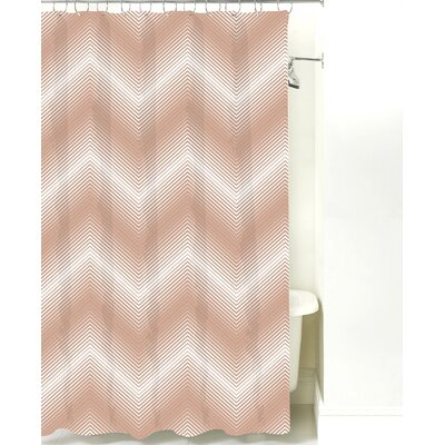 Modern Chevron Cotton Shower Curtain Color: Light Brown Line