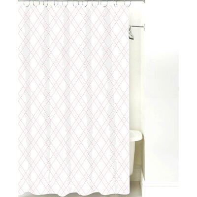 Argyle Cotton Shower Curtain Color: Pink Line
