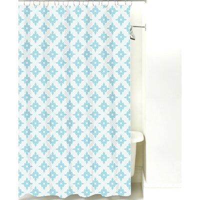 Kaleidoscope Cotton Shower Curtain Color: Light Blue Line