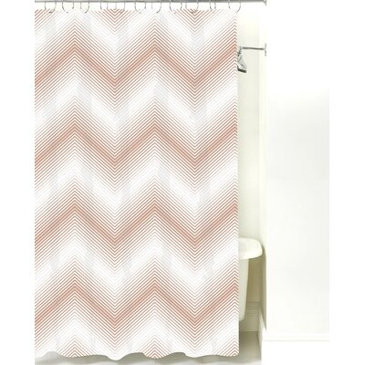 Modern Chevron Cotton Shower Curtain Color: Light Brown