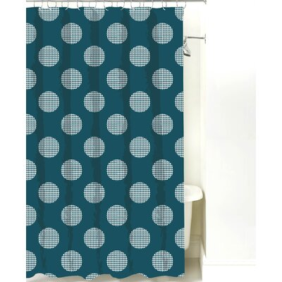 Modern Dot Cotton Shower Curtain Color: Teal
