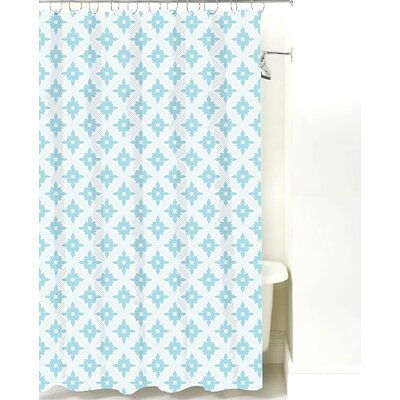 Kaleidoscope Cotton Shower Curtain Color: Light Blue Line