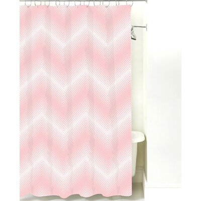 Modern Chevron Cotton Shower Curtain Color: Pink
