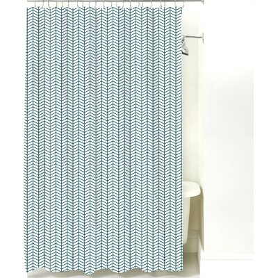 Herringbone Cotton Shower Curtain Color: Teal Line