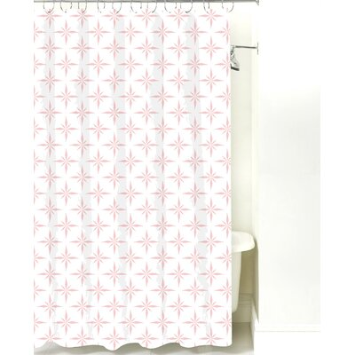 Nautical Compass Cotton Shower Curtain Color: Pink