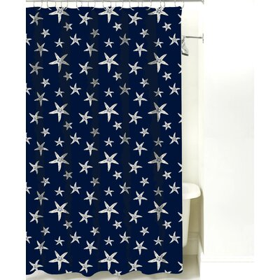 Starfish Cotton Shower Curtain Color: Navy Sand