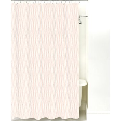 Herringbone Cotton Shower Curtain Color: Peach Line