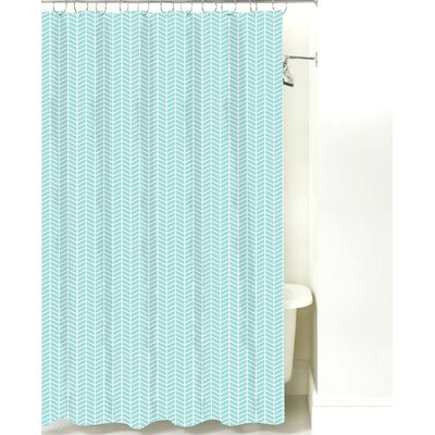 Herringbone Cotton Shower Curtain Color: Light Blue