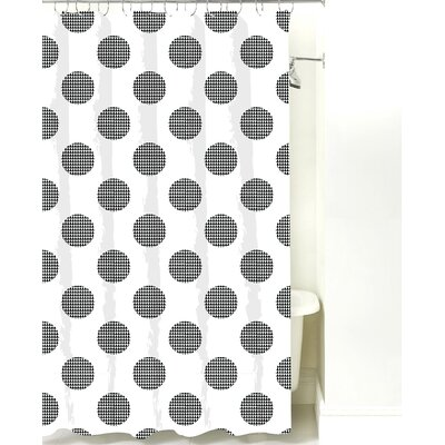 Modern Dot Cotton Shower Curtain Color: Black