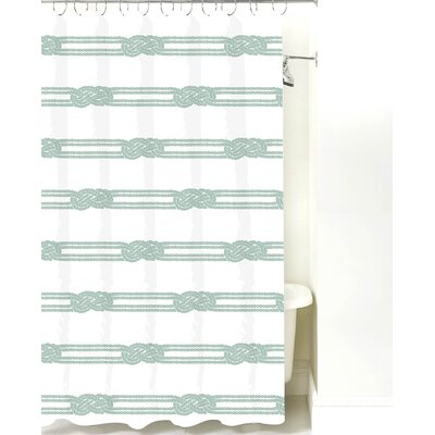 Nautical Ropes Cotton Shower Curtain Color: Pale Blue Rope