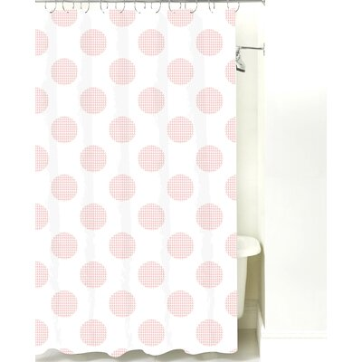 Modern Dot Cotton Shower Curtain Color: Pink