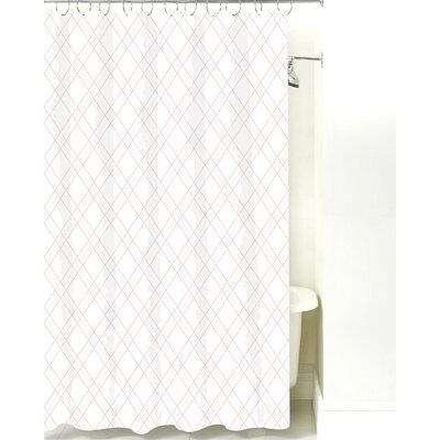 Argyle Cotton Shower Curtain Color: Pink Line
