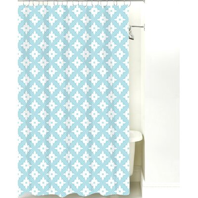 Kaleidoscope Cotton Shower Curtain Color: Light Blue