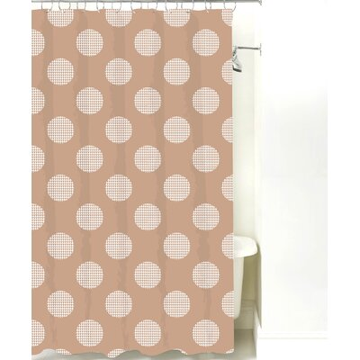 Modern Dot Cotton Shower Curtain Color: Light Brown Line