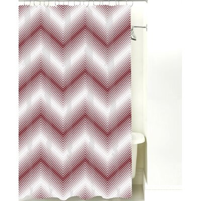 Modern Chevron Cotton Shower Curtain Color: Maroon